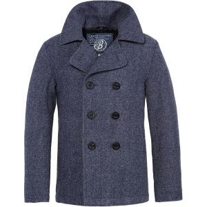 Brandit cappotto Caban in Denim blu a spina di pesce