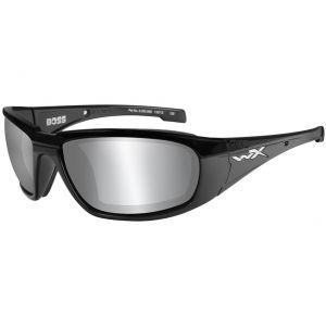 Wiley X occhiali WX Boss con lenti fumé grigie a specchio e struttura in nero lucido