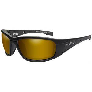 Wiley X occhiali WX Boss con lenti polarizzate a specchio Venice Gold e struttura in nero opaco