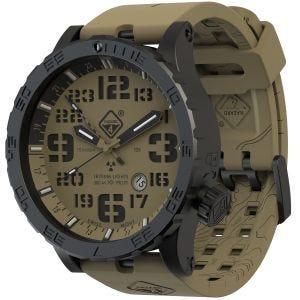 Hazard 4 orologio Heavy Water Diver Titanium Tritium cinturino e quadrante Arid Brown GMT con grafica verde/giallo