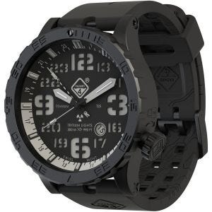 Hazard 4 orologio Heavy Water Diver Titanium Tritium cinturino nero quadrante Nightwatch bianco GMT con grafica blu/rosso