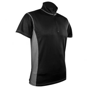 Highlander maglietta da uomo Pro Tech con zip sul colletto in nero / grigio