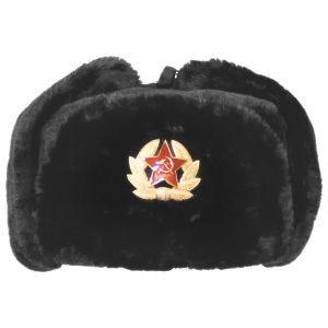 MFH cappello russo invernale con badge in nero