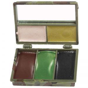 Mil-Tec kit trucco mimetico viso 5 colori con specchio in Woodland