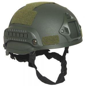 """Mil-Tec elmetto militare US """"M.I.C.H. 2002"""" in verde oliva con binari laterali"""