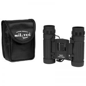 Mil-Tec binocolo pieghevole 8x21 in nero