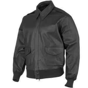 Mil-Tec giacca in pelle da pilota A-2 in nero