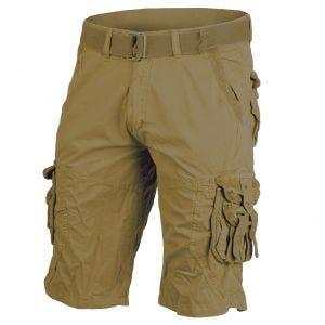 Mil-Tec pantaloni corti survival stile vintage prelavati in Coyote