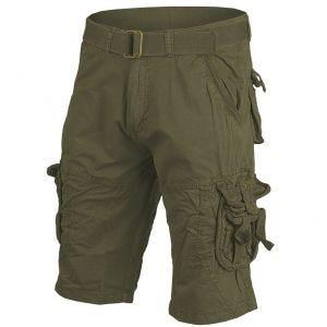 Mil-Tec pantaloni corti survival stile vintage prelavati in verde oliva