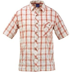 Propper camicia a maniche corte con chiusura a bottoni Covert in Brick Plaid