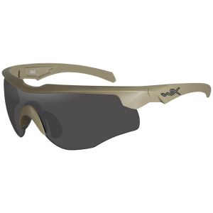 Wiley X WX Rogue COMM Glasses - Smoke Grey + Clear + Light Rust Lens / Tan Frame